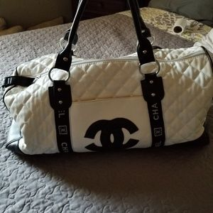 Chanel White & Black Quilted Travel Duffel Bag